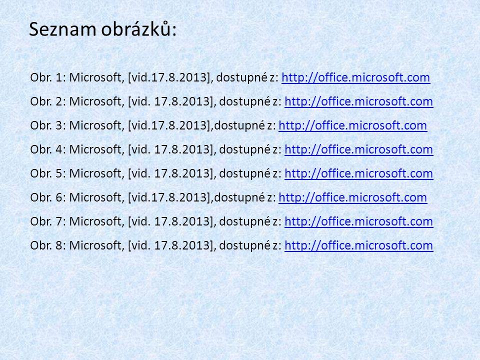 Seznam obrázků: Obr. 1: Microsoft, [vid.17.8.2013], dostupné z: http://office.microsoft.com.